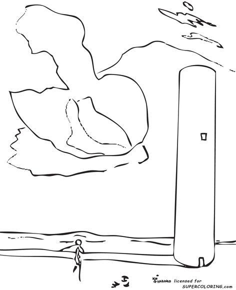 La Torre. Salvador Dalí. Para colorear.