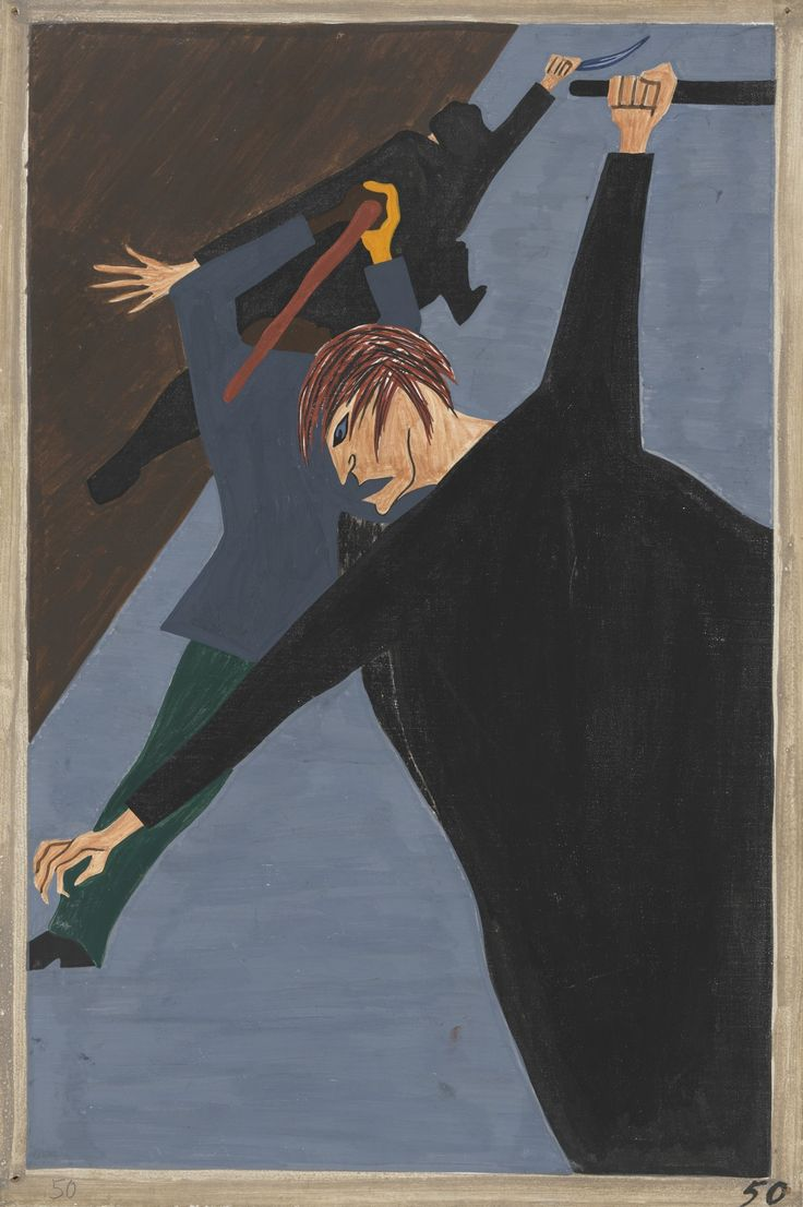 Jacob Lawrence: Race riots were very numerous all over the North because of the antagonism that was caused between the Negro and white workers. Many of these riots occurred because the Negro was used as a strike breaker in many of the Northern industries (1940-41)