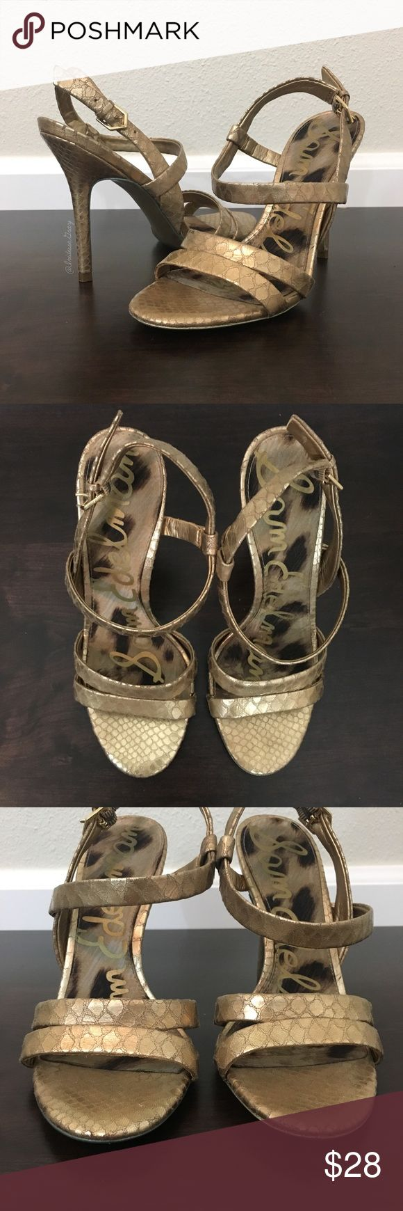 """Sam Edelman- Abbott Gold Snake Print Heels SZ 6.5 Sam Edelman- Abbott Gold Snake Print Heels SZ 6.5. Leather upper. Gold snake print. Preloved condition, still life left in them. Please see photos for detailed signs of wear. Adjustable strap at the ankle. Heel height is about 4"""". Sam Edelman Shoes Heels"""