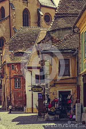 Sibiu, Romania - 06 May, 2015: Medieval Lower Town of the old city of Sibiu, European Capital of Culture for the year 2007 and Europe's 8th most idyllic place to live by Forbes.