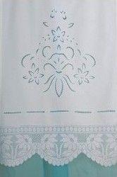 Λευκή Κουρτίνα Patmos Κοφτό με τελείωμα Δαντέλα Βελονάκι 80x130cm Pennie