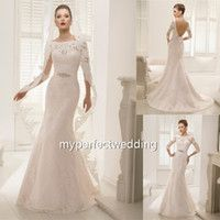 Cheap Trumpet Mermaid Blush pink Tulle Wedding Dresses Chapel Train With Flower Appliques Beaded Bateau 3 4 Long Sleeve Custom Made Bridal Gowns