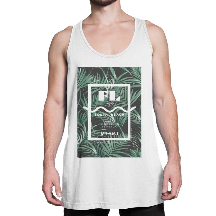here's it, one of our nice tanktop style and design for man. Check this out guys! Wovy Men's Tanktop Florida Miami South Beach