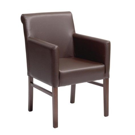 Zhenya Beech And Faux Leather Dining Chair With Armrests