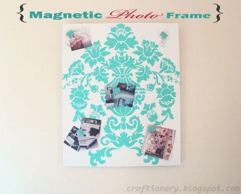diy painted magnetic photo display