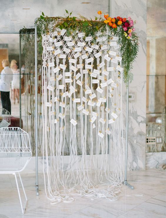 Boho indoor macrame wedding seating chart / http://www.deerpearlflowers.com/boho-macrame-knotted-wedding-decor-ideas/