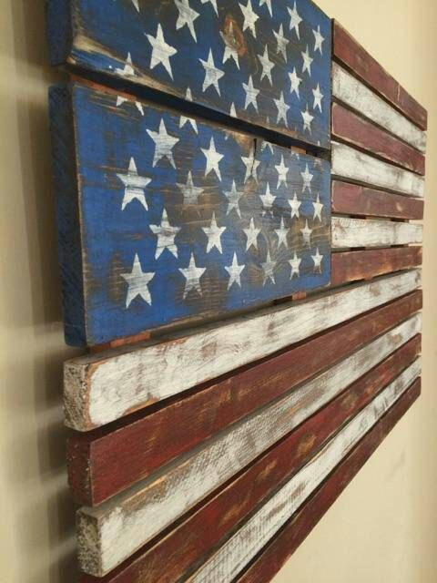 This piece is completely handmade from repurposed pallet wood. I reassembled the pieces to create the American flag. This entire piece is handmade