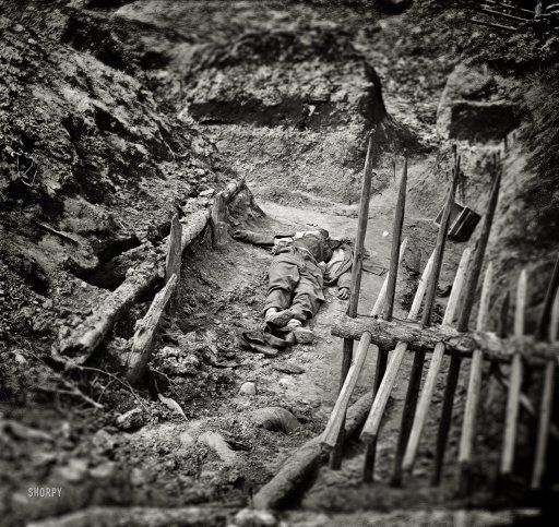 "April 3, 1865. Petersburg, Virginia. ""Dead Confederate soldiers in trench beyond a section of chevaux-de-frise."" Wet plate glass negative."