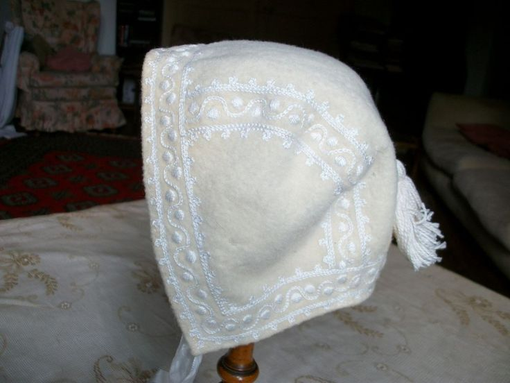 Vintage Baby Bonnet Doll Child French Antique Wool Silk Rayon Bebe Poupee