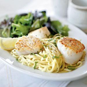 Seared Scallops with Fresh Linguine and Romano Cheese   MyRecipes.com