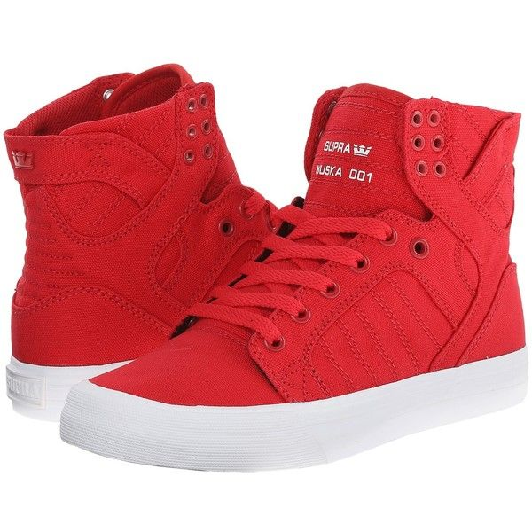 Supra Skytop D Women's Skate Shoes ($90) ❤ liked on Polyvore featuring shoes, pointed shoes, canvas footwear, slim shoes, supra footwear and lightweight shoes
