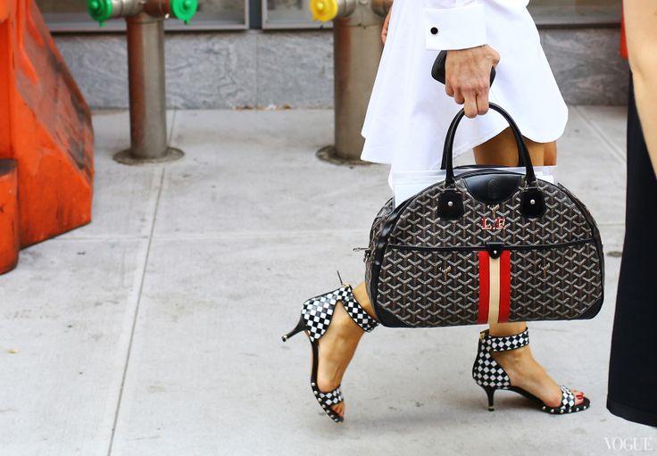 Linda Fargo  - Goyard bag, Givenchy shoes - New York Fashion Week, Spring 2014