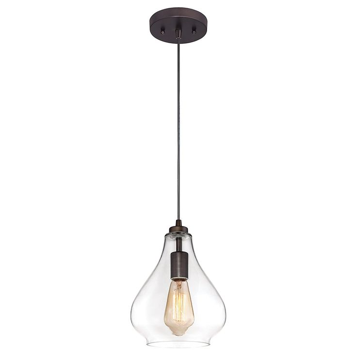 industrial onelight adjustable mini pendant with handblown clear glass oil rubbed bronze finish