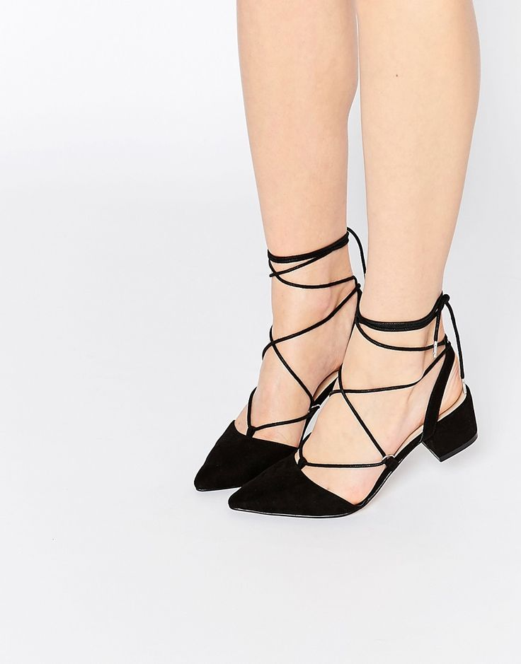 Cute lace up pointed toe block heels, a modern take on the classic black pump for a timeless shoe