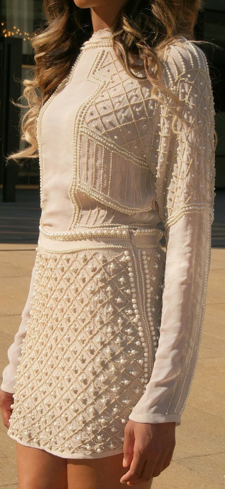 Gorgeous Embellished Ivory rehearsal dinner or bachelorette party dress for a fall or winter wedding