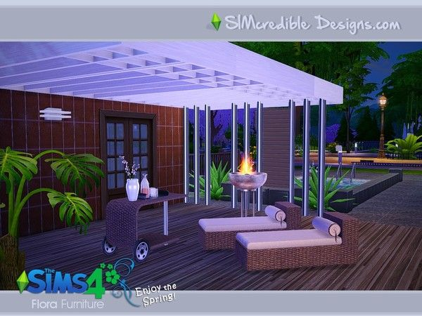 Flora outdoor furniture by SIMcredible  at TSR via Sims 4 Updates Check  more at http. 280 best Sims 4 Home Goods images on Pinterest