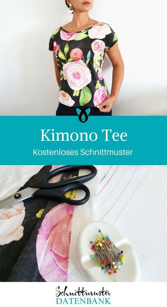 abe581ff315576 Kimono Tee Kirsten Denmark T-Shirt Oberteil Damen für Frauen nähen  Schnittmuster kostenlos gratis Freebie