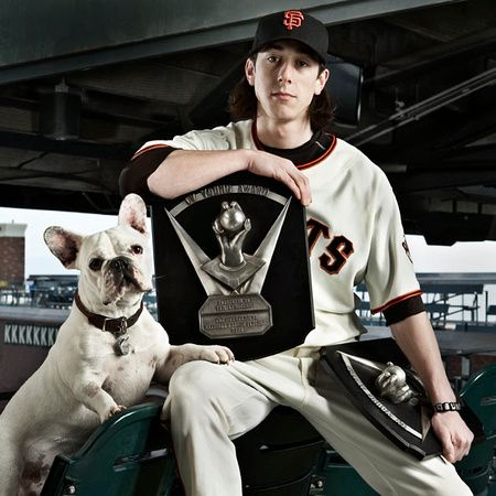 Tim Lincecum & his french bulldog