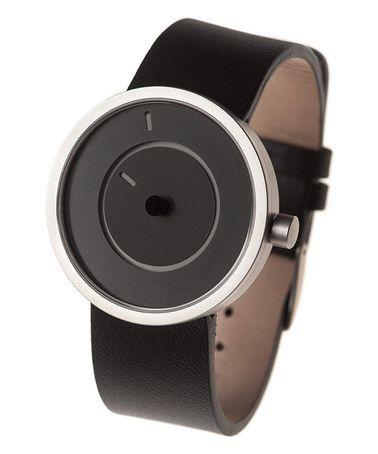 Look at this #zulilyfind! Black Nuno Leather-Strap Watch by LEXON #zulilyfinds