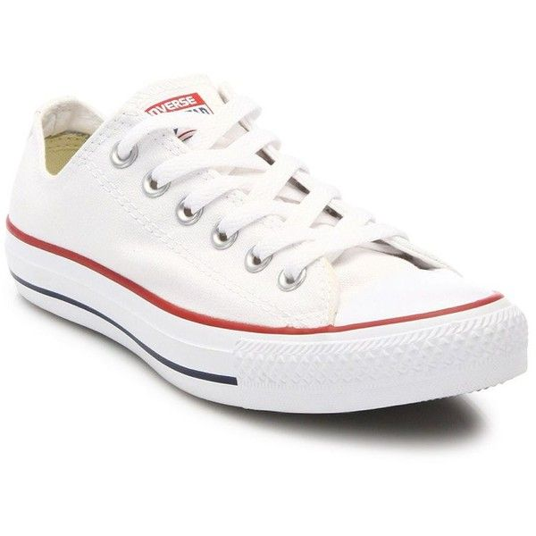Converse Chuck Taylor All-Star Low-Top Sneakers ($58) ❤ liked on Polyvore featuring shoes, sneakers, apparel & accessories, optical white, lacing sneakers, white low tops, white sneakers, white lace up sneakers and converse trainers