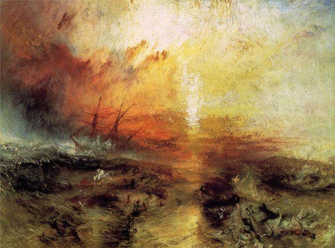 Уильям Тернер. С судна, перевозящего рабов, бросают за борт умирающих и мёртвых, надвигается тайфун.