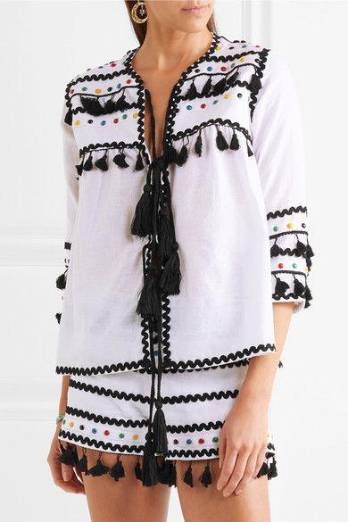 Dodo Bar Or - Embellished Embroidered Cotton-gauze Top - White - medium