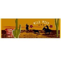Spandoek Wild West -  Een groot spandoek bedrukt in western stijl. Afmeting: 74 x 220cm.   www.feestartikelen.nl