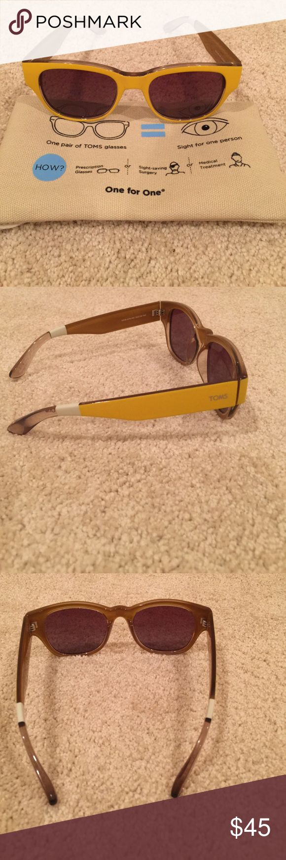 TOMS Taxi yellow & champ brown Gigi Brand new, chic color, retro style. Comes with pouch. Toms Accessories Sunglasses