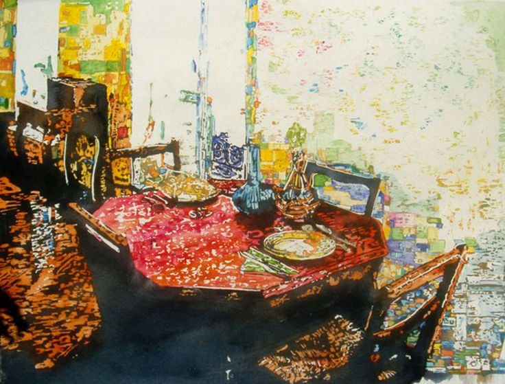"red table interior paris (2) 17.5"" x 22"" micheal zarowsky / watercolour on arches paper / available $900.00"