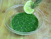 Dill Pesto with Lemon. Scandinavian.  Good on fish or chix.                                                            Zap it all in the processor:                5 Tbsp. walnuts     5 cloves garlic     6 ounces fresh dill, roughly chopped (2-3 cups)     zest of 1 large lemon     1 tsp. salt     3/4-1 cup rapeseed or canola oil