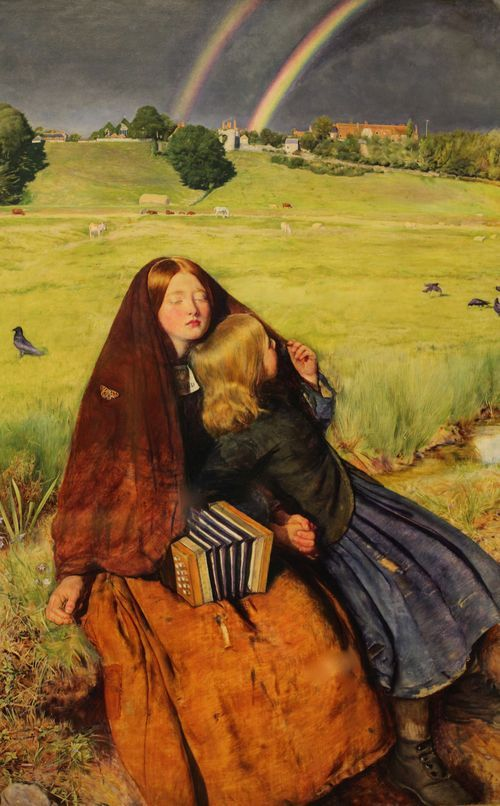 "John Everett Millais, ""The Blind Girl."" 1854. Birmingham Art Gallery"