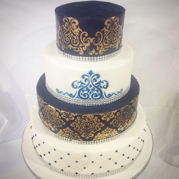 Royal blue and gold damask Asian wedding cake