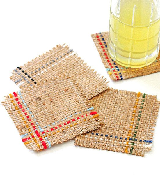 Burlap coasters are taking rustic style by storm! Details here: http://www.bhg.com/decorating/do-it-yourself/accents/cool-diy-coasters-you-can-make/?socsrc=bhgpin062015casualclothcoasters&page=5