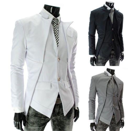 Mann-asymmetrisch-Design-Stilvolle-slim-fit-Vest-Anzug-Stil-Stehkragen-Jacke