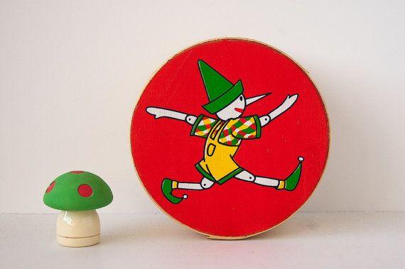 Very rare Pinochio wood veneer box / illustrated box / children room decor