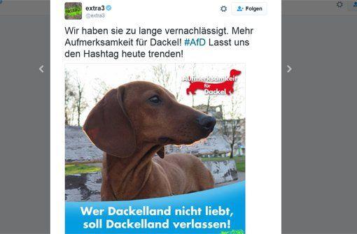 """Während der AfD-Parteitag in Stuttgart läuft, setzt die Twitter-Gemeinde einen Trend gegen den Hashtag #AfD und fordert """"Aufmerksamkeit für Dackel""""."""