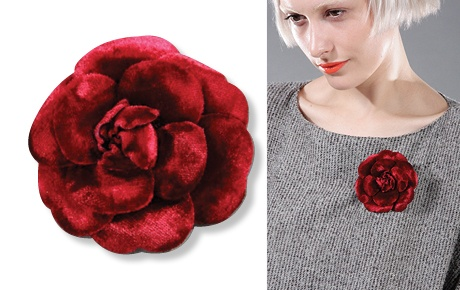 CLAIRE INC Vintage Chanel classic collectable Camellia Burgundy brooch, $315