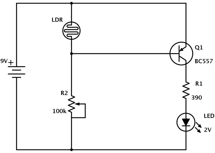 LDR circuit diagram with PNP transistor (dark detector