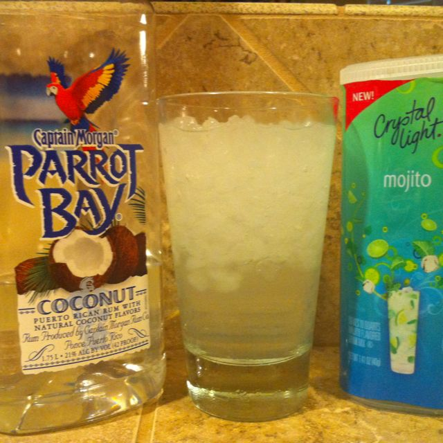104 calorie Mojito! This is NOT a water downed drink. Your bathing suit will thank you ;)  2 oz. Parrot Bay Coconut Rum (102 calories)  3 oz. Crystal Light Mojito   (1.9 calories) mixed as package directed. FYI- a shot is 1 oz.