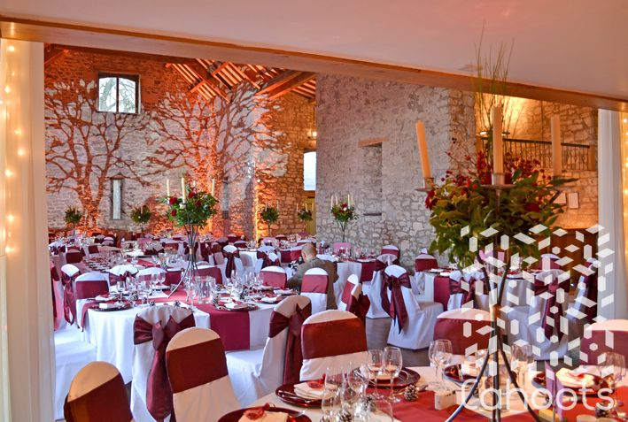 Autumn wedding with table linen lighting and candelabras