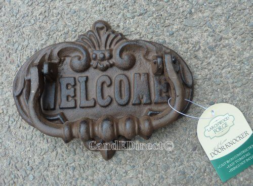 Cast Iron Decorative Door Knocker Welcome Design NEW Westwoods http://www.amazon.co.uk/dp/B00DJ56AGG/ref=cm_sw_r_pi_dp_O-yKwb029D69J