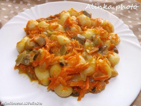 Delená strava - Gnocchi s hlivovo-mrkvovou omáčkou