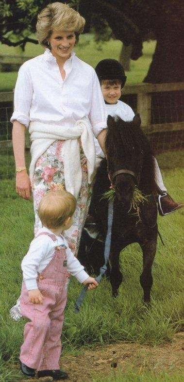 July,1986 - Prince Harry, Princess Diana, and Prince William on his pony   at Highgrove House