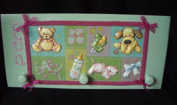 Pretty pale green clothes hanger for a baby by HandmadeByFiona, $35.00
