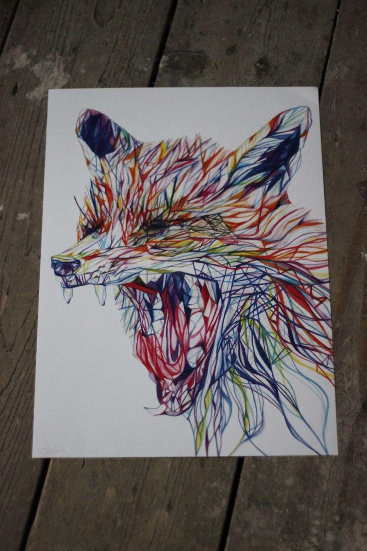 Yawning Fox Print