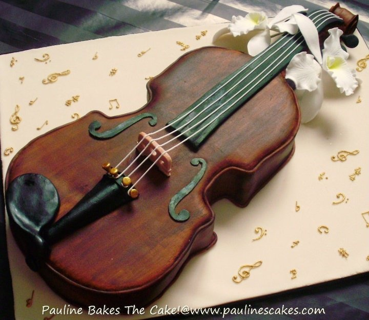 17 images about cakes musical on pinterest drum kit for Violin decorating ideas