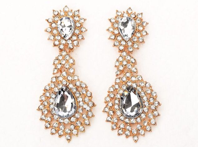 Clear crystal golden earrings.