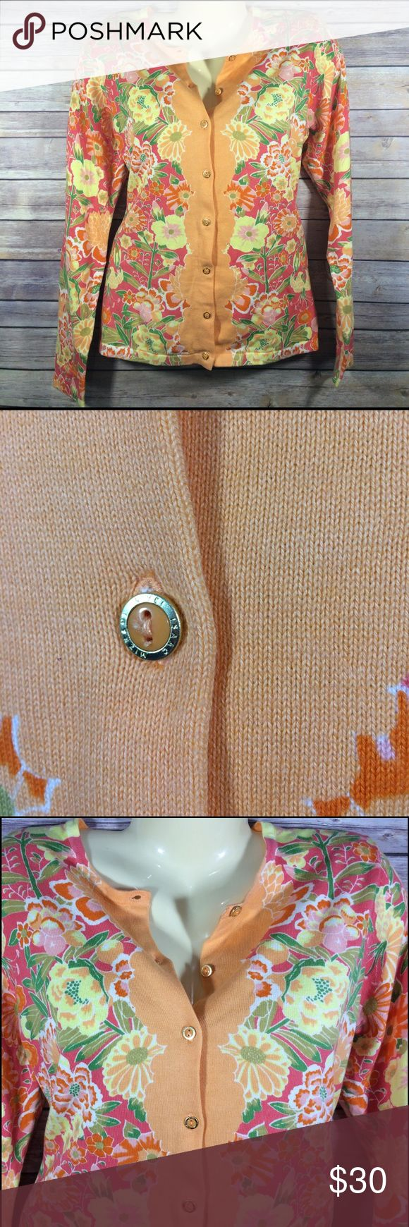 Isaac Mizrahi Live Orange Floral Flower Cardigan M Isaac Mizrahi Live! Orange Spring Floral Boyfriend button up cardigan. In beautiful like new condition! All colors are still very vibrant! Size plus size medium.  All of my closet is stored in a climate controlled storage unit! isaac mizrahi live Sweaters Cardigans
