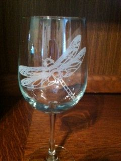 Dragonfly Etched Glassware by Craftsbysuelav on Etsy, $10.00