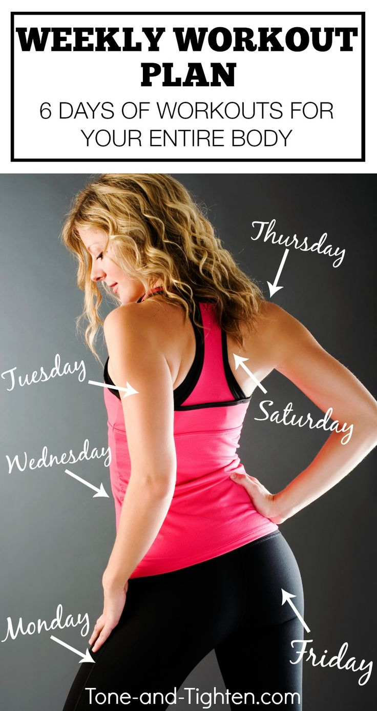 Killer workouts for one body area per day for five days. From Tone-and-Tighten.com